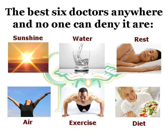 sunshine, water, rest, air, exercise, diet